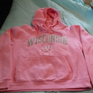 Girls Pink Wisconsin Badgers Hoodie - Youth Sz L